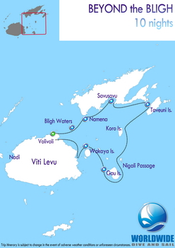 10 nights Fiji dive trip map itinerary