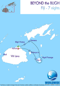 7 nights Fiji dive trip map itinerary