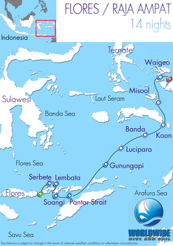 14 nights Banda Sea dive trip map itinerary