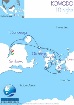 10 nights Komodo dive trip map itinerary