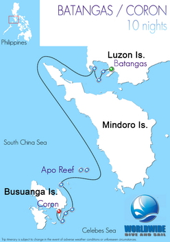 10 nights Philippines-Batangas Coror dive trip map itinerary