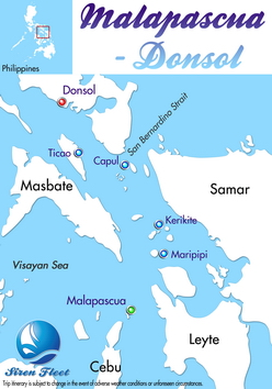 10 nights Philippines-Malapascua Donsol dive trip map itinerary