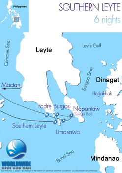 6 nights Philippines-Southern Leyte dive trip map itinerary