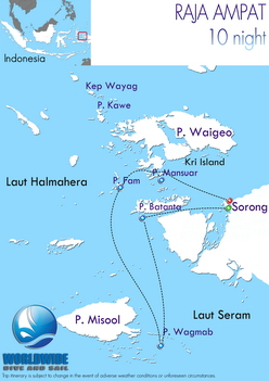 10 nights Raja Ampat dive trip map itinerary