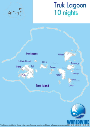 10 nights Truck Lagoon dive trip map itinerary